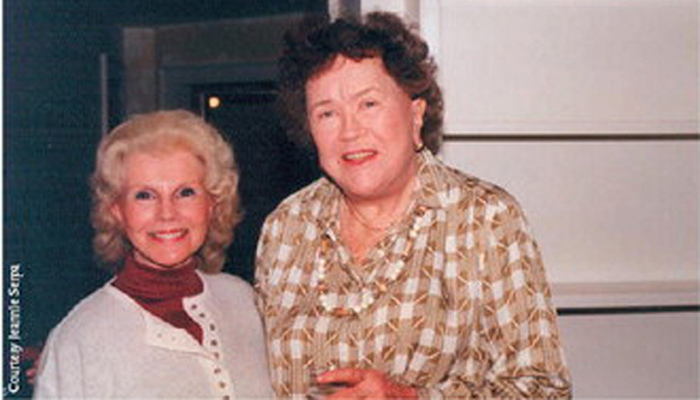 "Jeannie Serpa with  Julia Child following a taping of "" This Old House."""
