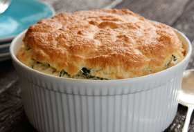 Bake Annabel Langbein's<br>Blue Cheese & Spinach Souffl�s